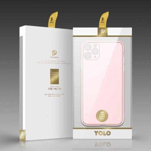 iPhone 11 Pro Max umbris Dux Ducis Yolo elegant kunstnahast ja silikoonist servadega roosa 4