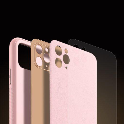 iPhone 11 Pro Max umbris Dux Ducis Yolo elegant kunstnahast ja silikoonist servadega roosa 5