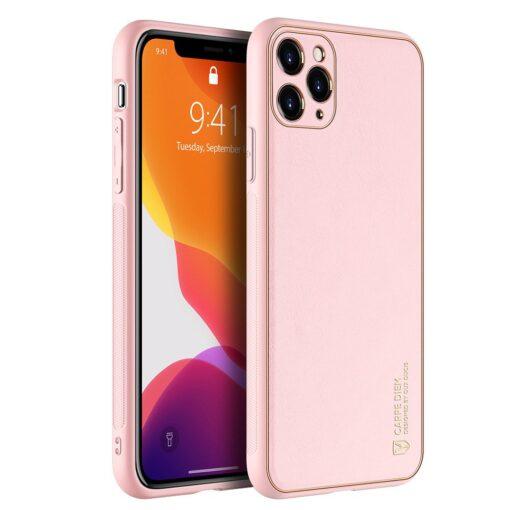 iPhone 11 Pro Max umbris Dux Ducis Yolo elegant kunstnahast ja silikoonist servadega roosa