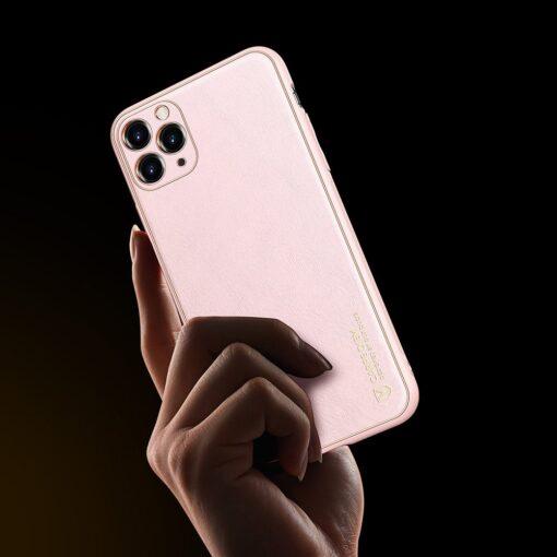 iPhone 11 Pro Max umbris Dux Ducis Yolo elegant kunstnahast ja silikoonist servadega roosa 6
