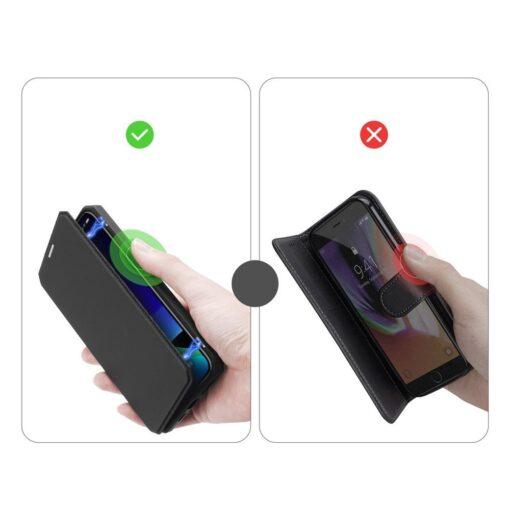iPhone 11 Pro max kunstnahast kaaned kaarditaskuga DUX DUCIS Skin Pro must 10