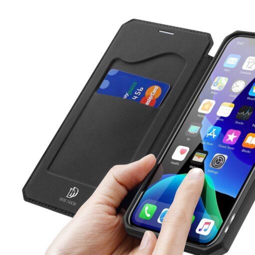 iPhone 11 Pro max kunstnahast kaaned kaarditaskuga DUX DUCIS Skin Pro must 2