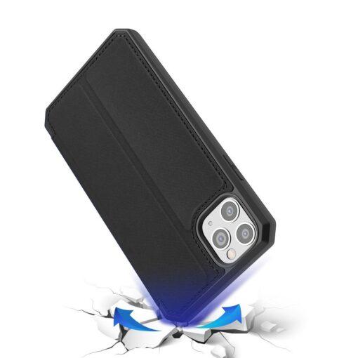 iPhone 11 Pro max kunstnahast kaaned kaarditaskuga DUX DUCIS Skin Pro must 3