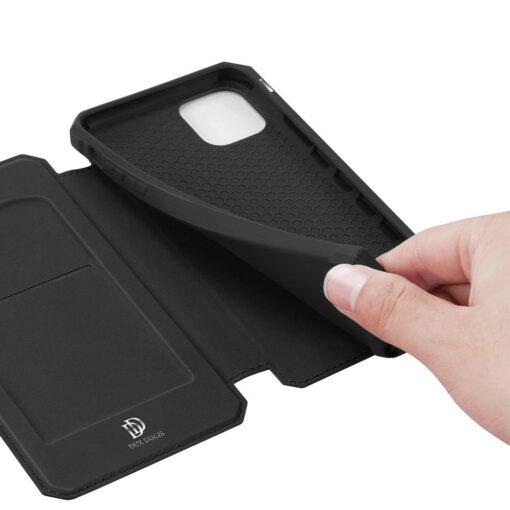 iPhone 11 Pro max kunstnahast kaaned kaarditaskuga DUX DUCIS Skin Pro must 5