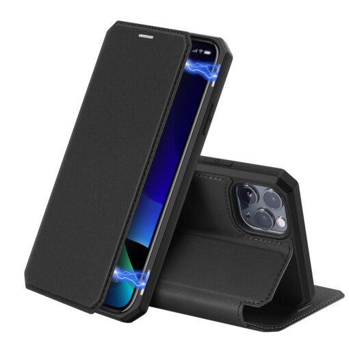 iPhone 11 Pro max kunstnahast kaaned kaarditaskuga DUX DUCIS Skin Pro must