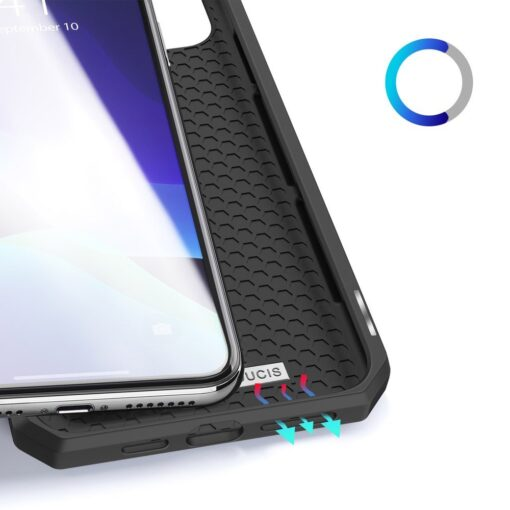 iPhone 11 Pro max kunstnahast kaaned kaarditaskuga DUX DUCIS Skin Pro must 7