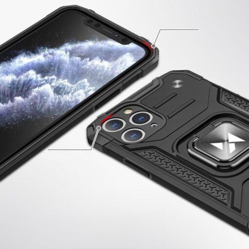 iPhone 11 Pro tugev umbris Ring Armor plastikust taguse ja silikoonist nurkadega must 1