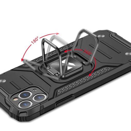 iPhone 11 Pro tugev umbris Ring Armor plastikust taguse ja silikoonist nurkadega must 4