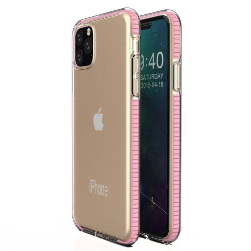 iPhone 11 Pro umbris silikoonist varvilise raamiga roosa
