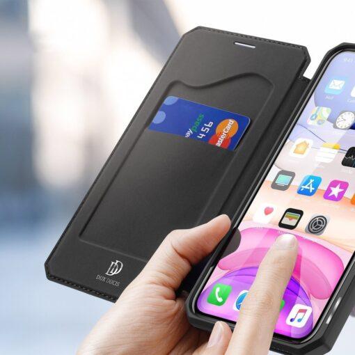 iPhone 11 kunstnahast kaaned kaarditaskuga DUX DUCIS Skin Pro must 2
