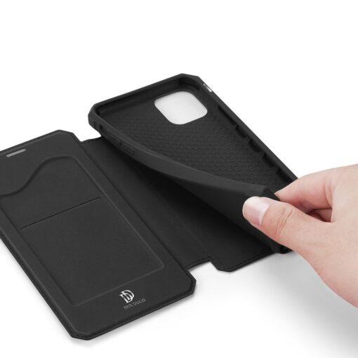 iPhone 11 kunstnahast kaaned kaarditaskuga DUX DUCIS Skin Pro must 5