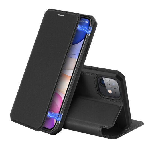iPhone 11 kunstnahast kaaned kaarditaskuga DUX DUCIS Skin Pro must