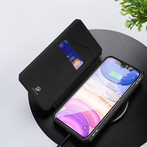 iPhone 11 kunstnahast kaaned kaarditaskuga DUX DUCIS Skin Pro must 6