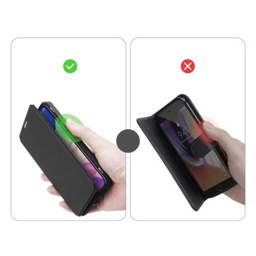 iPhone 11 kunstnahast kaaned kaarditaskuga DUX DUCIS Skin Pro must 8