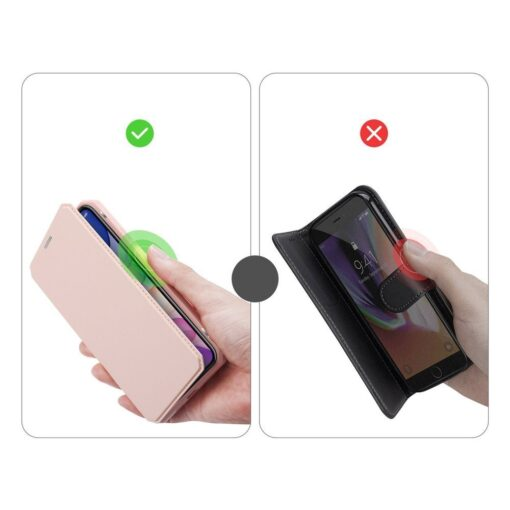 iPhone 11 kunstnahast kaaned kaarditaskuga DUX DUCIS Skin Pro roosa 10
