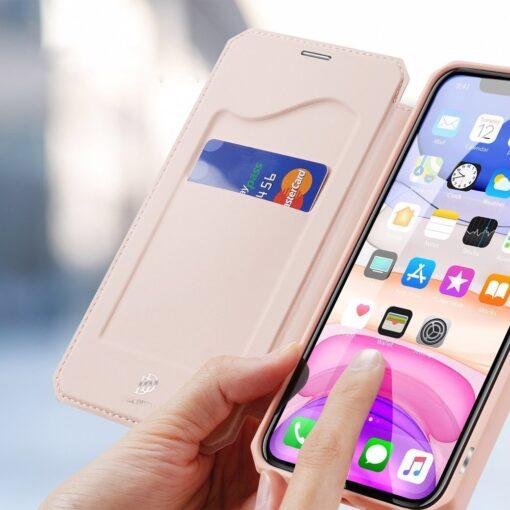 iPhone 11 kunstnahast kaaned kaarditaskuga DUX DUCIS Skin Pro roosa 2