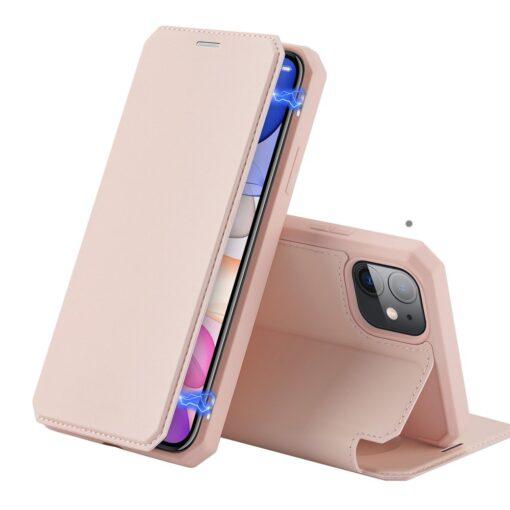 iPhone 11 kunstnahast kaaned kaarditaskuga DUX DUCIS Skin Pro roosa