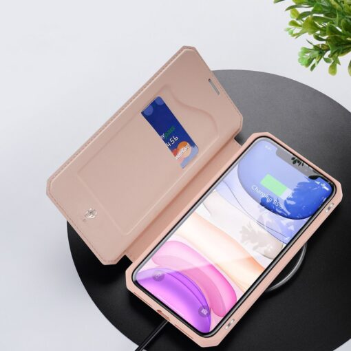 iPhone 11 kunstnahast kaaned kaarditaskuga DUX DUCIS Skin Pro roosa 6