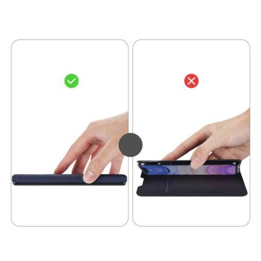 iPhone 11 kunstnahast kaaned kaarditaskuga DUX DUCIS Skin Pro sinine 10