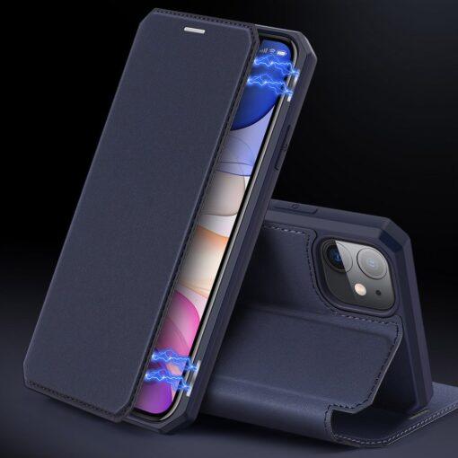 iPhone 11 kunstnahast kaaned kaarditaskuga DUX DUCIS Skin Pro sinine 11