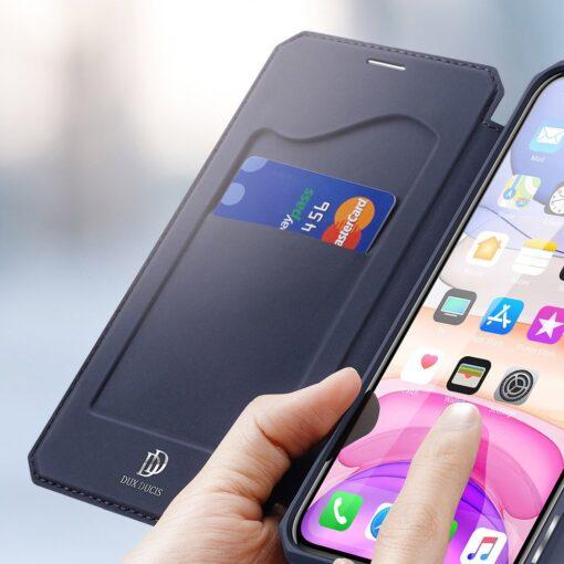 iPhone 11 kunstnahast kaaned kaarditaskuga DUX DUCIS Skin Pro sinine 14