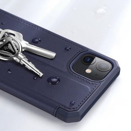 iPhone 11 kunstnahast kaaned kaarditaskuga DUX DUCIS Skin Pro sinine 15