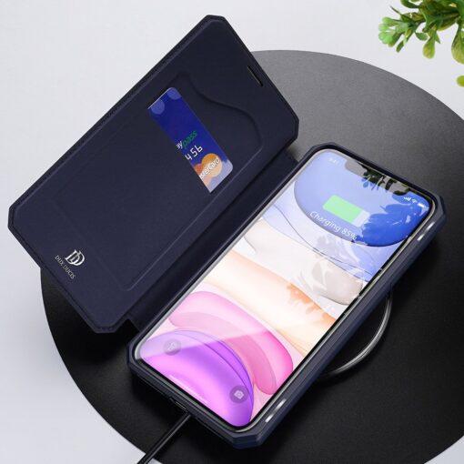 iPhone 11 kunstnahast kaaned kaarditaskuga DUX DUCIS Skin Pro sinine 18