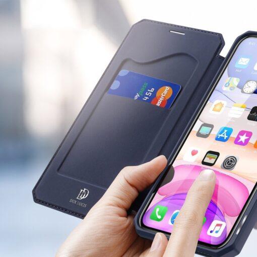 iPhone 11 kunstnahast kaaned kaarditaskuga DUX DUCIS Skin Pro sinine 2