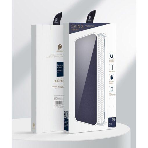 iPhone 11 kunstnahast kaaned kaarditaskuga DUX DUCIS Skin Pro sinine 20