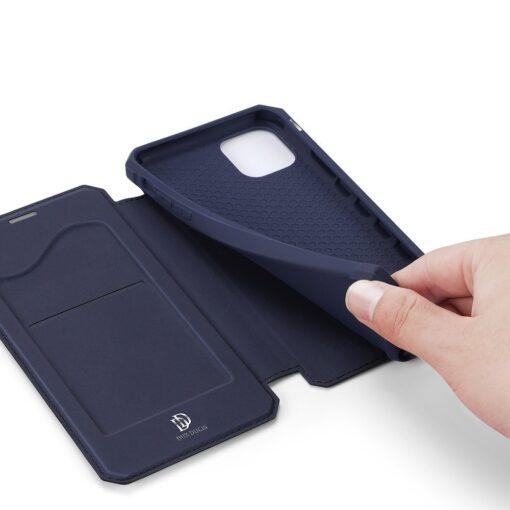 iPhone 11 kunstnahast kaaned kaarditaskuga DUX DUCIS Skin Pro sinine 4