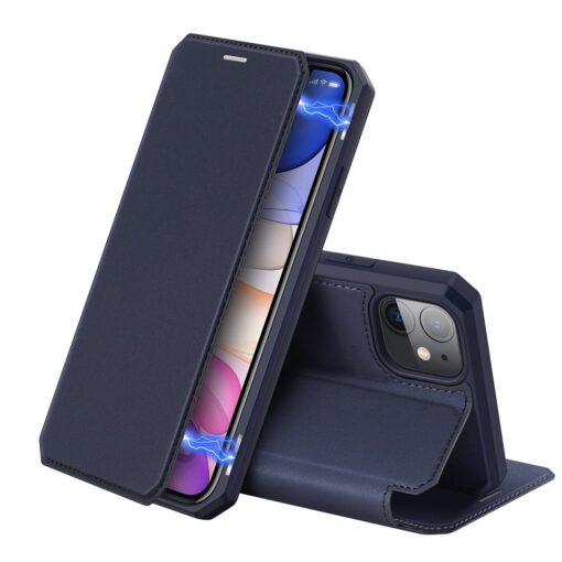 iPhone 11 kunstnahast kaaned kaarditaskuga DUX DUCIS Skin Pro sinine