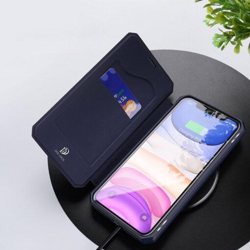 iPhone 11 kunstnahast kaaned kaarditaskuga DUX DUCIS Skin Pro sinine 6