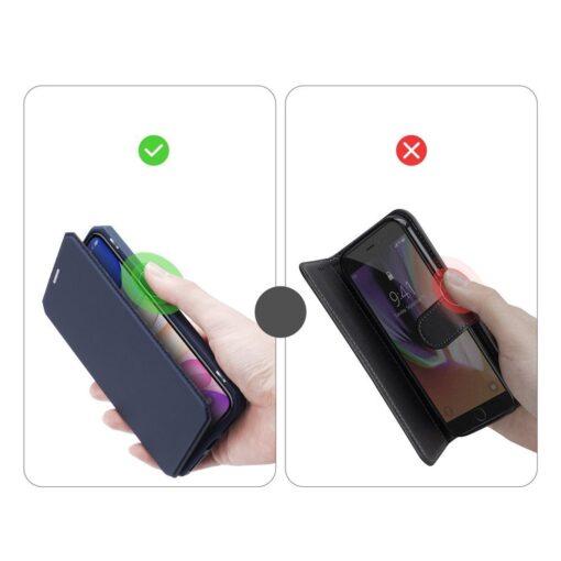 iPhone 11 kunstnahast kaaned kaarditaskuga DUX DUCIS Skin Pro sinine 8