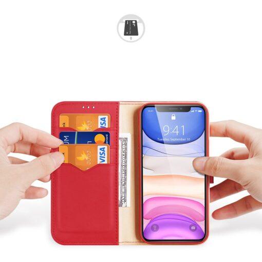 iPhone 11 nahast raamatkaaned Dux Ducis Hivo punane 1