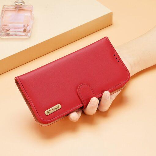 iPhone 11 nahast raamatkaaned Dux Ducis Hivo punane 10