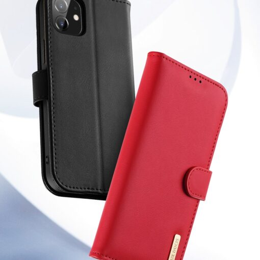 iPhone 11 nahast raamatkaaned Dux Ducis Hivo punane 14
