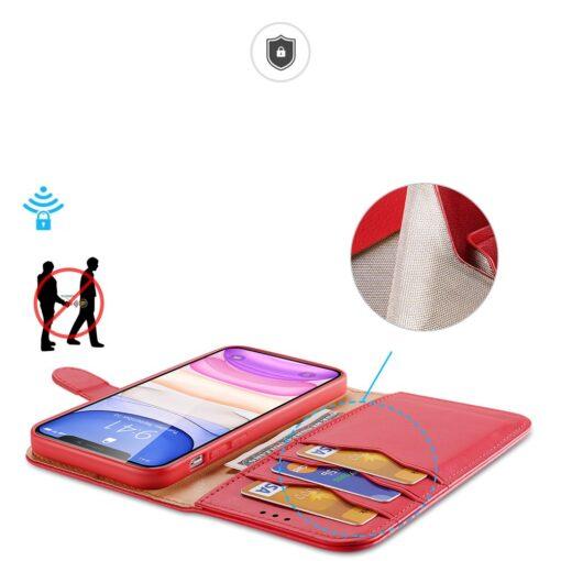iPhone 11 nahast raamatkaaned Dux Ducis Hivo punane 2