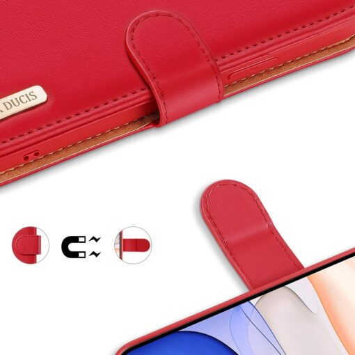 iPhone 11 nahast raamatkaaned Dux Ducis Hivo punane 3