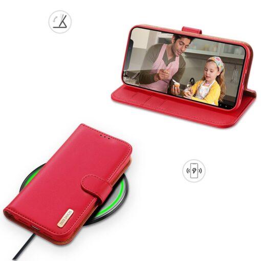 iPhone 11 nahast raamatkaaned Dux Ducis Hivo punane 5