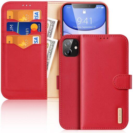 iPhone 11 nahast raamatkaaned Dux Ducis Hivo punane