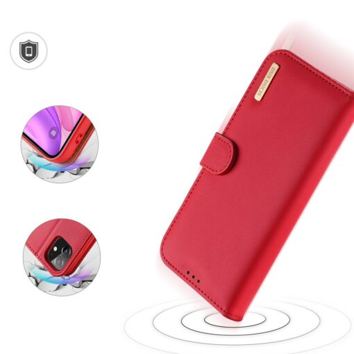 iPhone 11 nahast raamatkaaned Dux Ducis Hivo punane 6