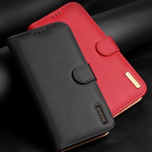 iPhone 11 nahast raamatkaaned Dux Ducis Hivo punane 9