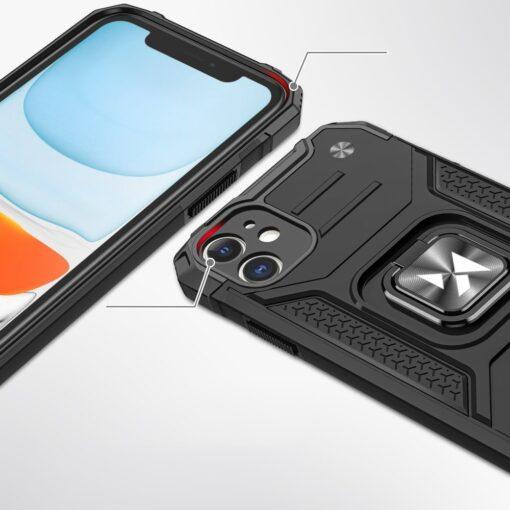 iPhone 11 tugev umbris Ring Armor plastikust taguse ja silikoonist nurkadega must 1