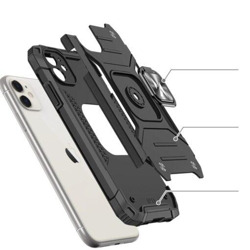 iPhone 11 tugev umbris Ring Armor plastikust taguse ja silikoonist nurkadega must 2