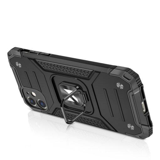iPhone 11 tugev umbris Ring Armor plastikust taguse ja silikoonist nurkadega must 3