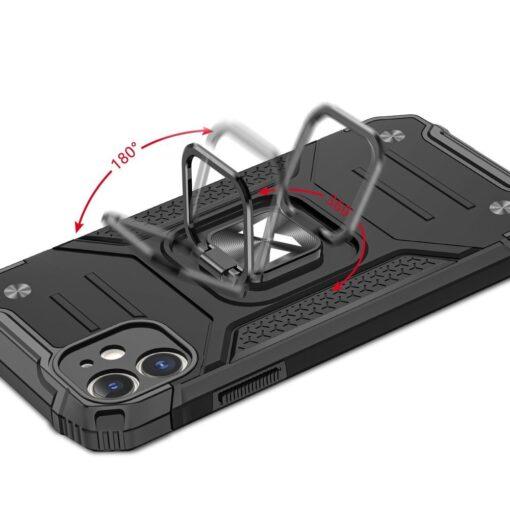 iPhone 11 tugev umbris Ring Armor plastikust taguse ja silikoonist nurkadega must 4