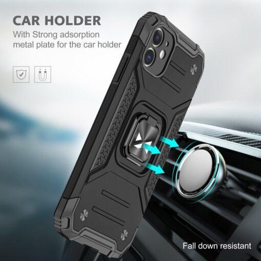 iPhone 11 tugev umbris Ring Armor plastikust taguse ja silikoonist nurkadega must 5