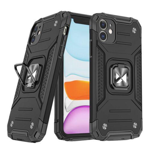 iPhone 11 tugev umbris Ring Armor plastikust taguse ja silikoonist nurkadega must