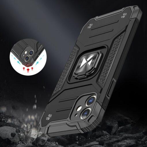 iPhone 11 tugev umbris Ring Armor plastikust taguse ja silikoonist nurkadega must 6