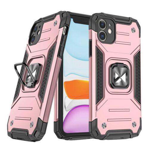 iPhone 11 tugev umbris Ring Armor plastikust taguse ja silikoonist nurkadega roosa